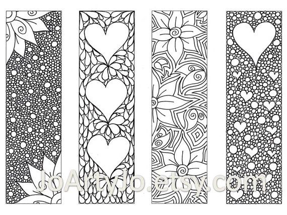 valentines bookmarks to print and color zentangle inspired hearts and flowers printable coloring digital download sheet 8 - Flowers To Print And Color