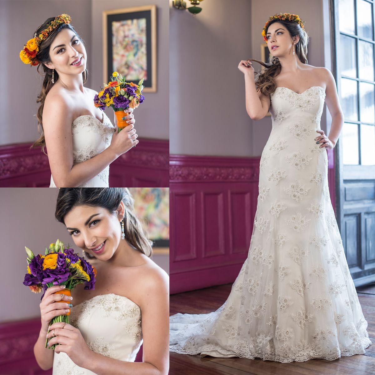 Vestido de novia strapless escote corazón · Strapless Sweetheart Trumpet Wedding Dress