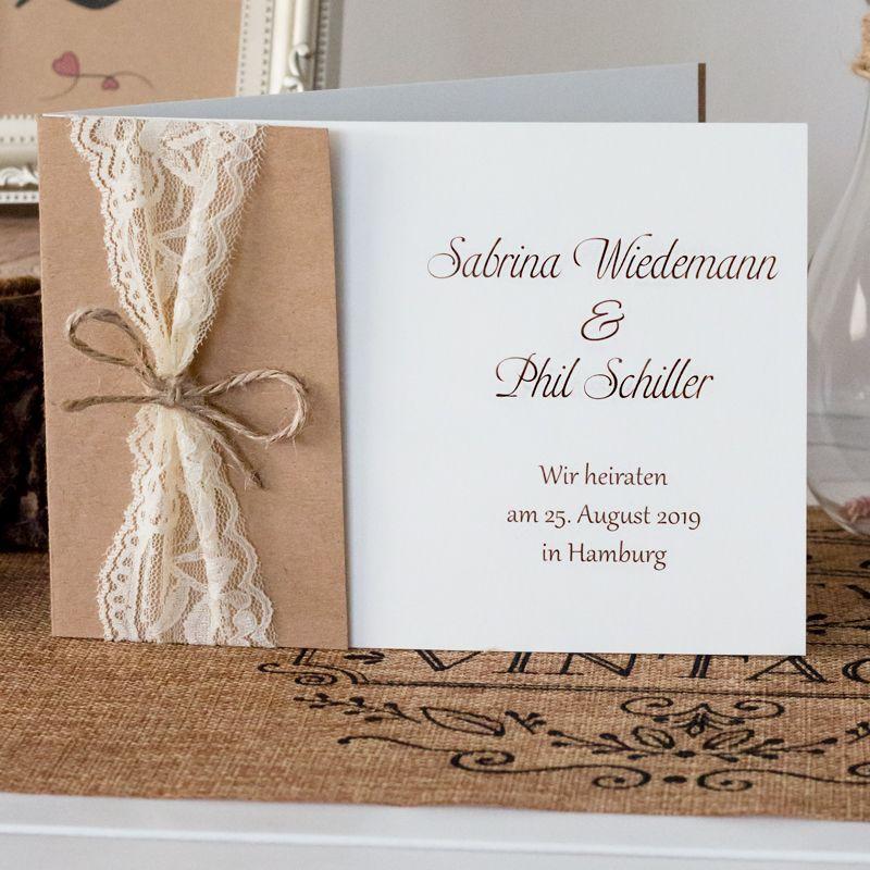 Einladungskarten Einladung Hochzeit Vintage Herz Kraftpapier