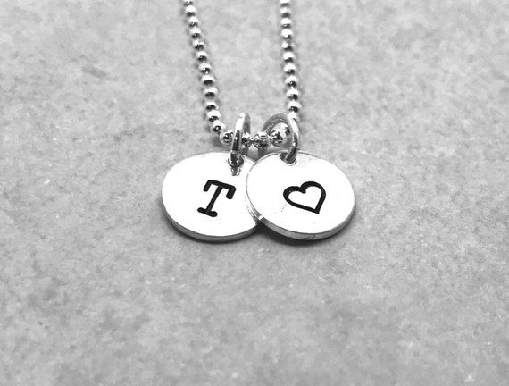 T Initial Necklace with Heart Charm, Sterling Silver, Letter T