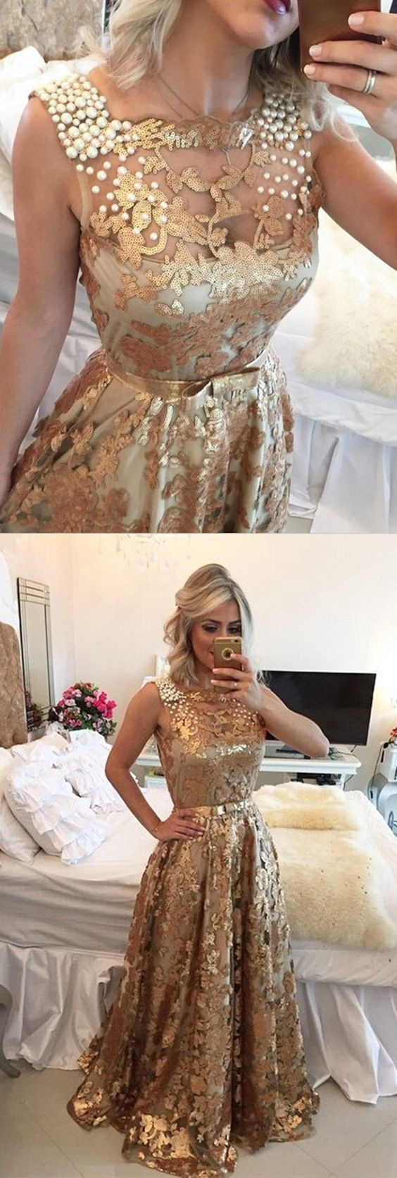 Luxurious square long gold sequined prom dress beading with