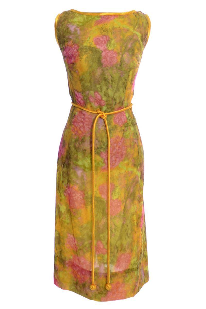 Us silk chiffon floral vintage dress gene kristeller products