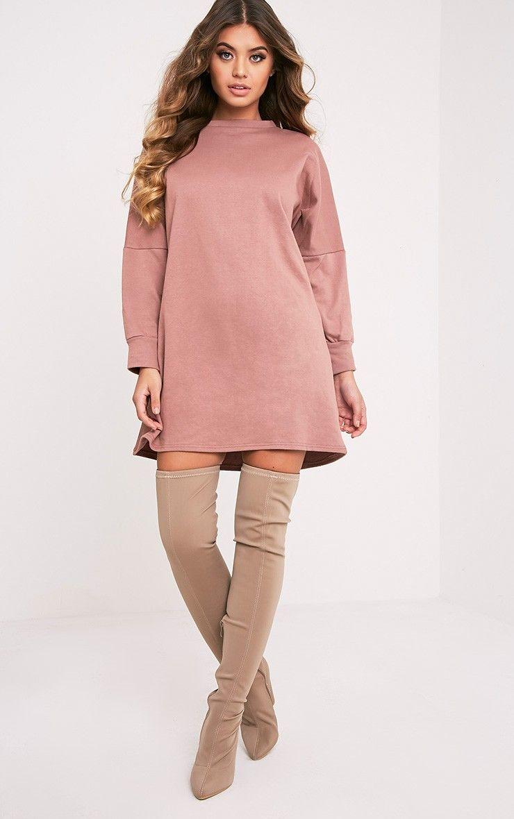 4ebc177b573 Laine Dark Mauve Oversized Sweater Dress - Dresses - PrettylittleThing