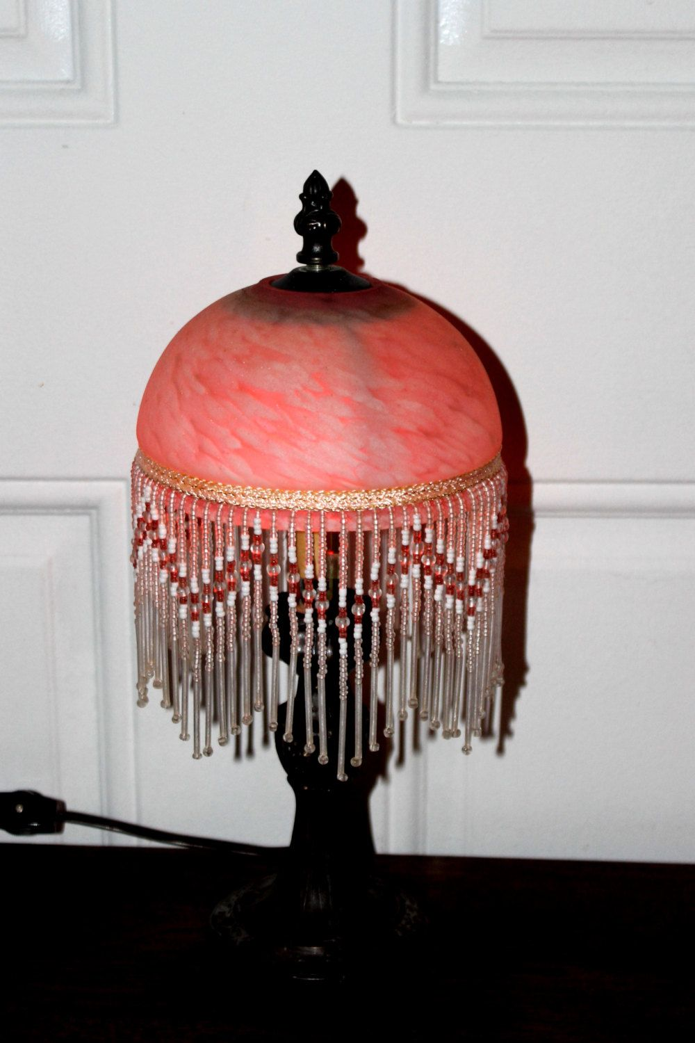 antique art deco beaded marbled glass lamp shade circa 1930s excellent condition