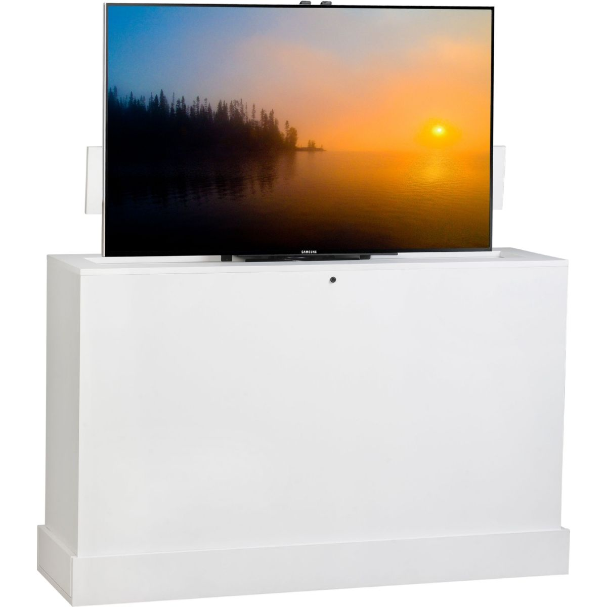 Tv Lift Cabinet At006791white Azura 360 Swivel 60 Hidden Flat