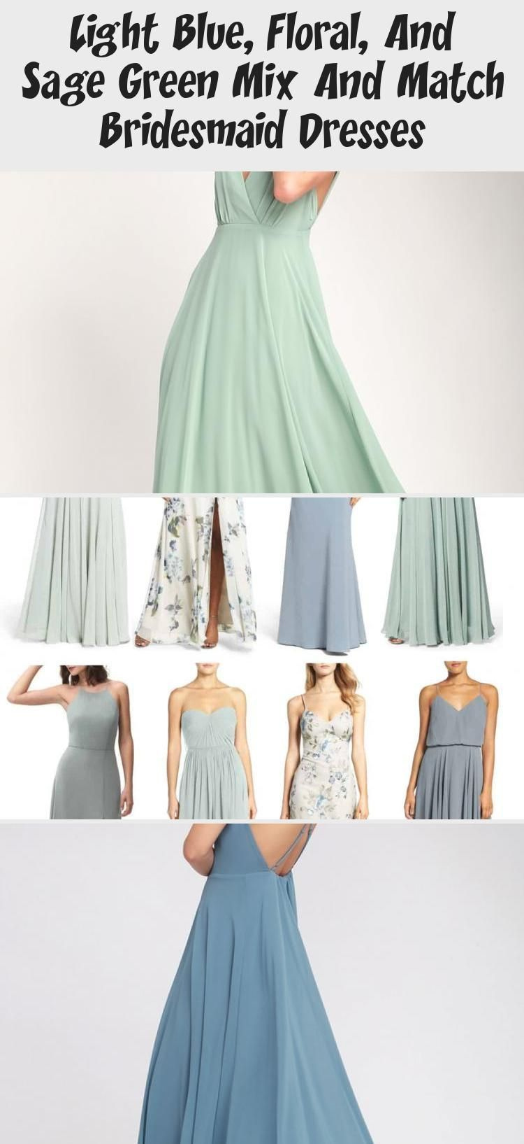 Light Blue Floral And Sage Green Mix And Match Bridesmaid