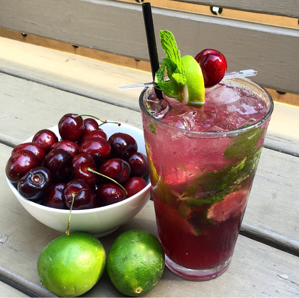 Black Cherry Mojito 2 Oz Bacardi White Rum 5 Simple Syrup Monin Pure 6 Mint Leaves 4 Lime Wedges Top With Club Soda Muddle