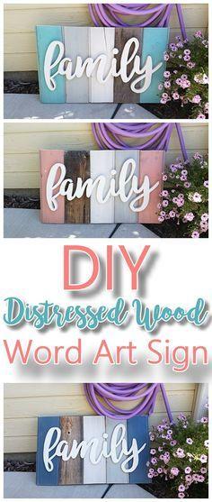 Diy Home Decor Signs Diyfamilywordartsignwoodworkingprojecttutorialtechnique