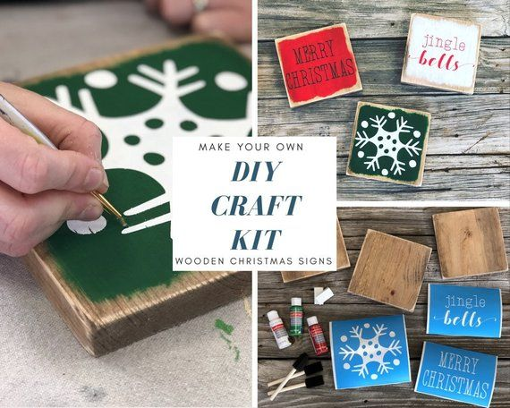 Mini Wooden Christmas Themed Signs Kit Zoom Sale Details Excludes Applicable Shipping And Taxes Descripti Christmas Signs Diy Diy Craft Kits