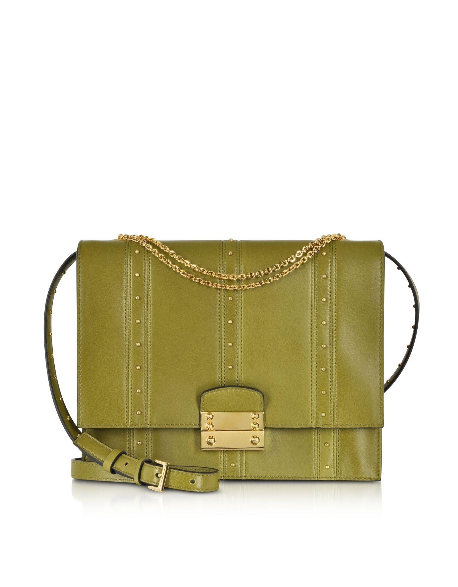 533686b5ef6f Valentino Olive Green w Gold Studs Shoulder Bag at FORZIERI