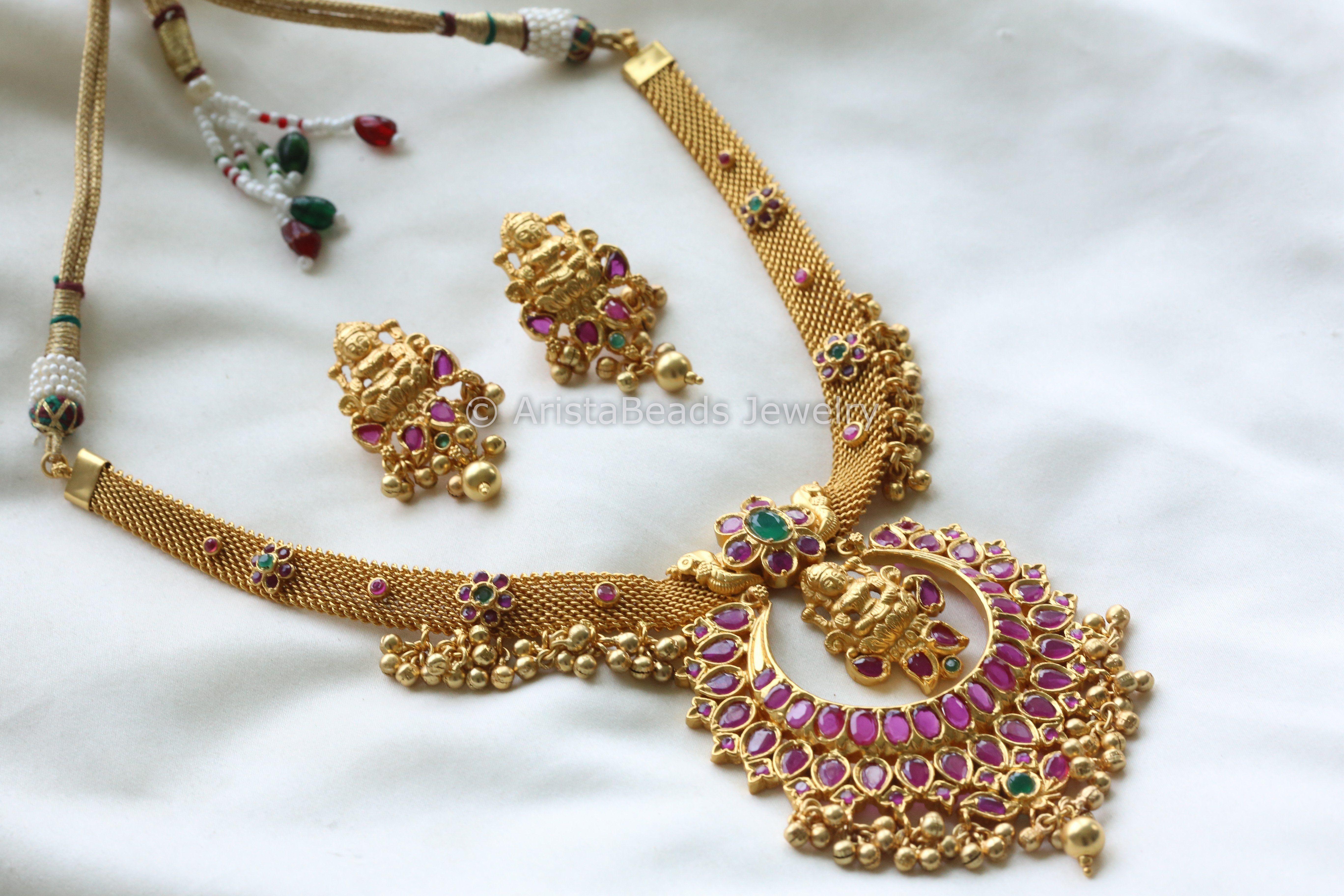 Antique jadau lakshmi necklace pinterest chains and gold