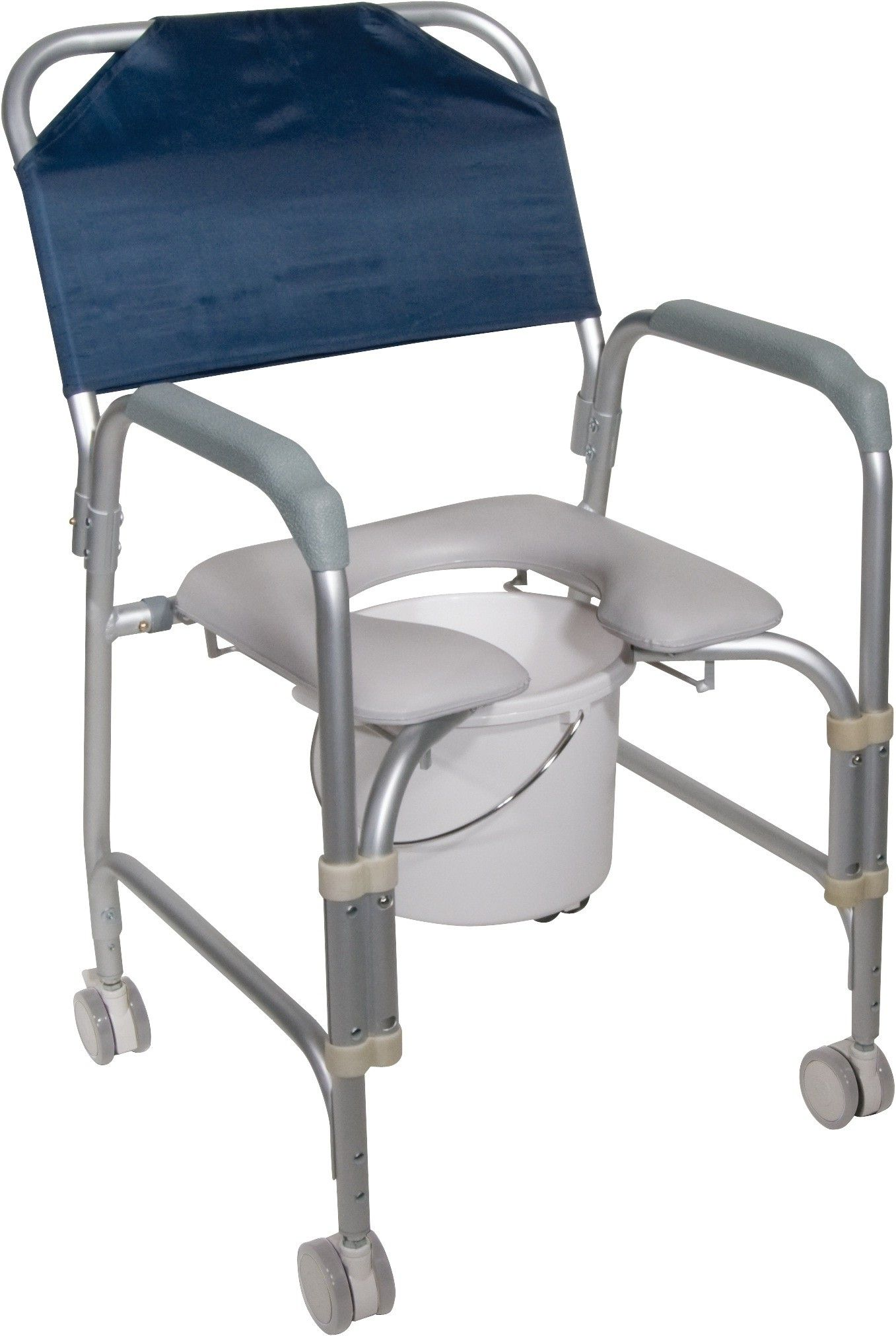 This lightweight portable shower chair commode with