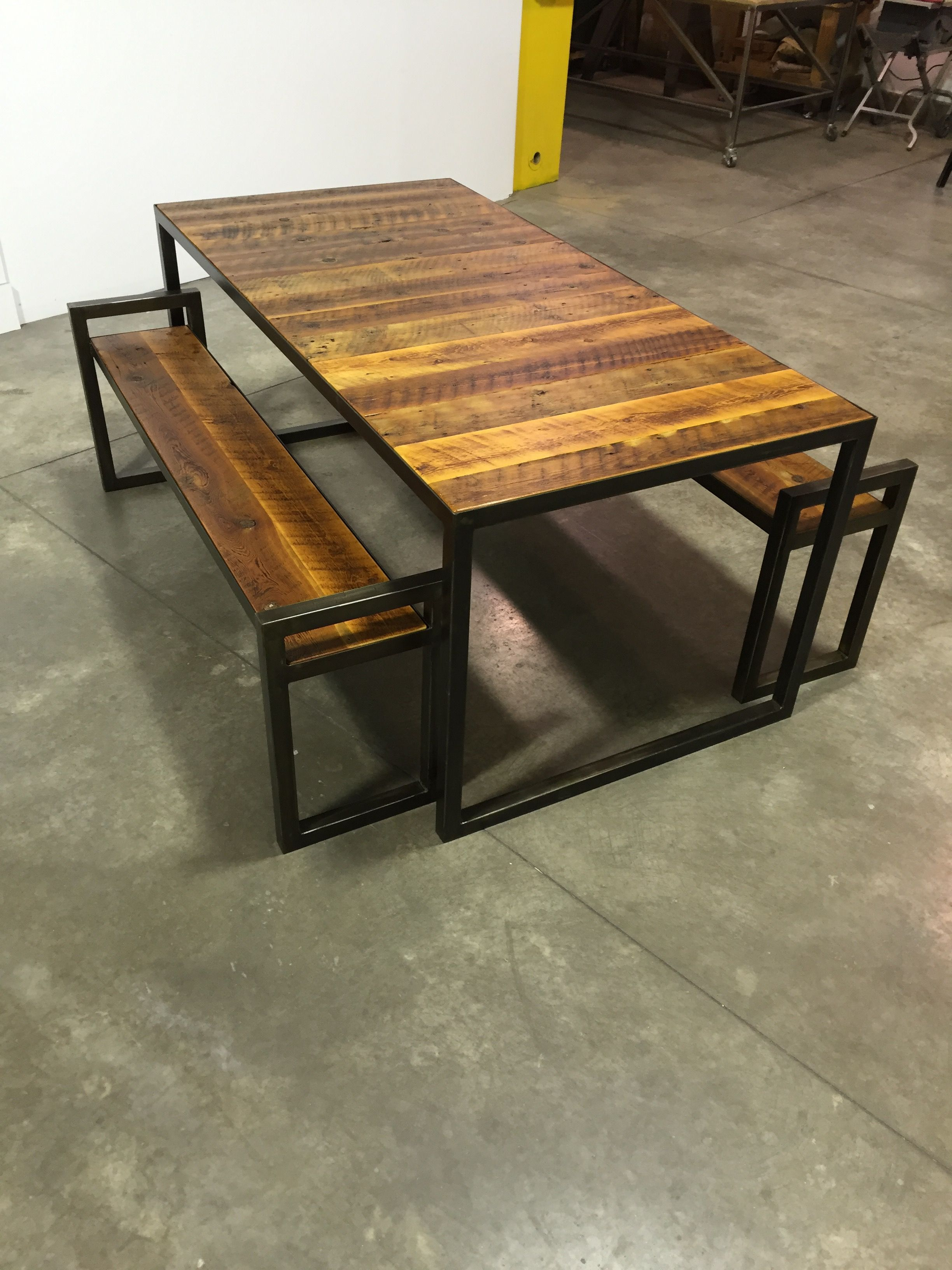 Reclaimed Montana Barn Wood Patio Table Set Steel Frame With Distressed Black Patina