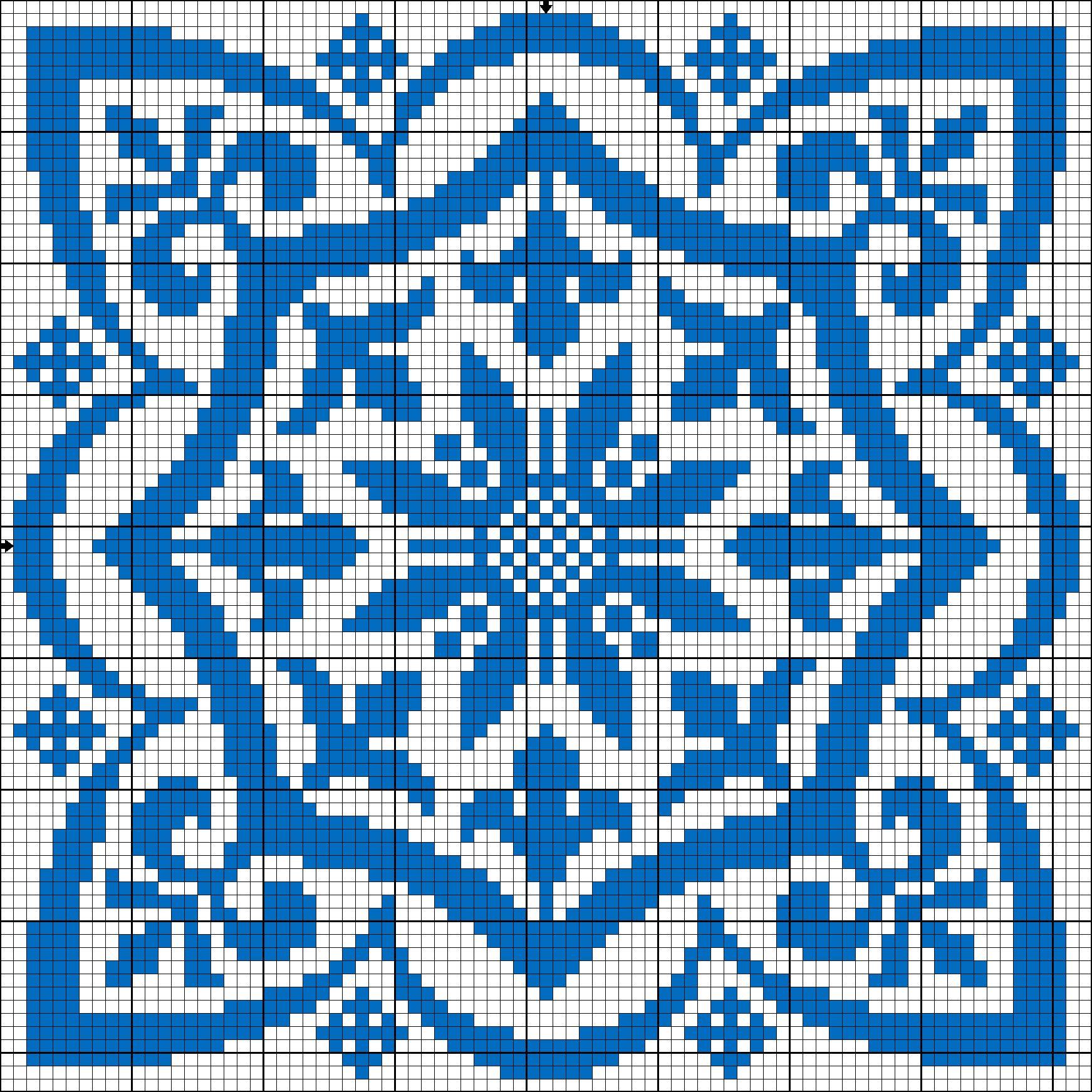Square motif for cross stitch or filet crochet. | gancedo.eu ...