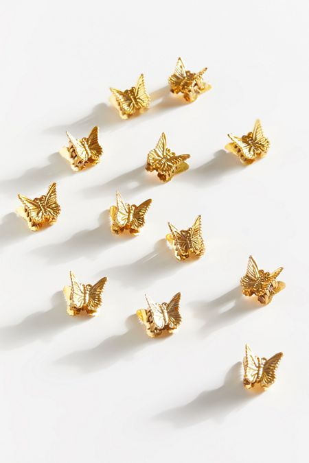 Tiny mini silver metal hair claw clips with gold butterflies Set of two