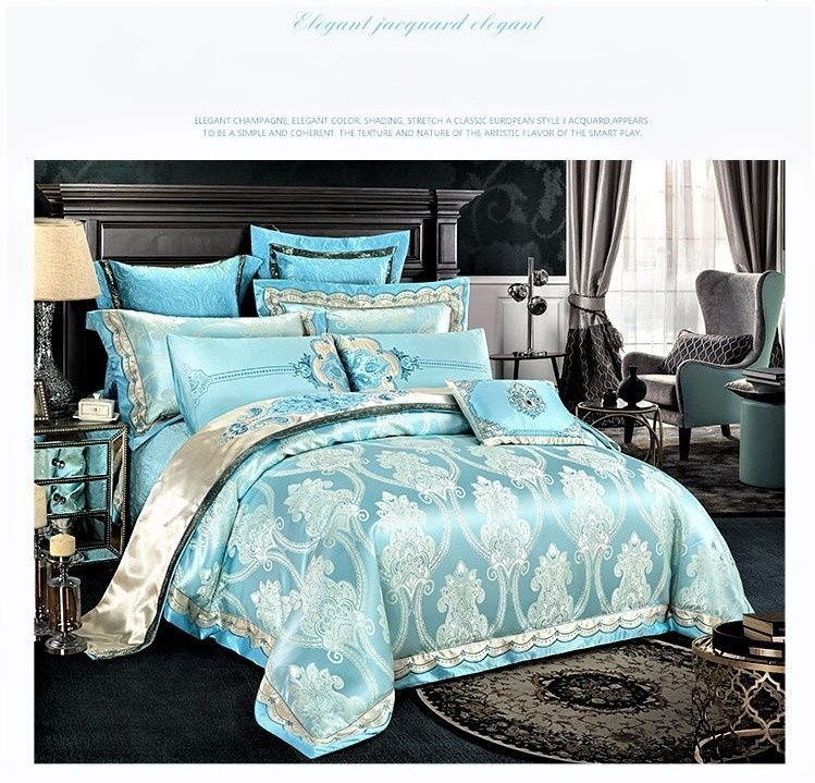 Details About 9pc Luxury Light Blue Silk Cotton Embroidered Queen
