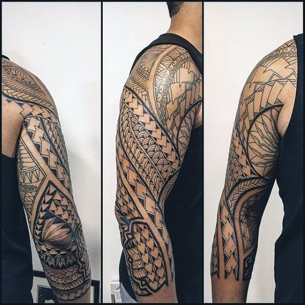 c846fe7f10c24 From shoulder to elbow, discover the top 50 best Polynesian half sleeve tattoo  designs for men. Explore cool tribal ideas in bold black ink. Negative Space  ...