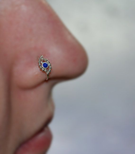 2mm Lapis Lazuli NOSE RING STUD // Silver by PjCreationsStudio