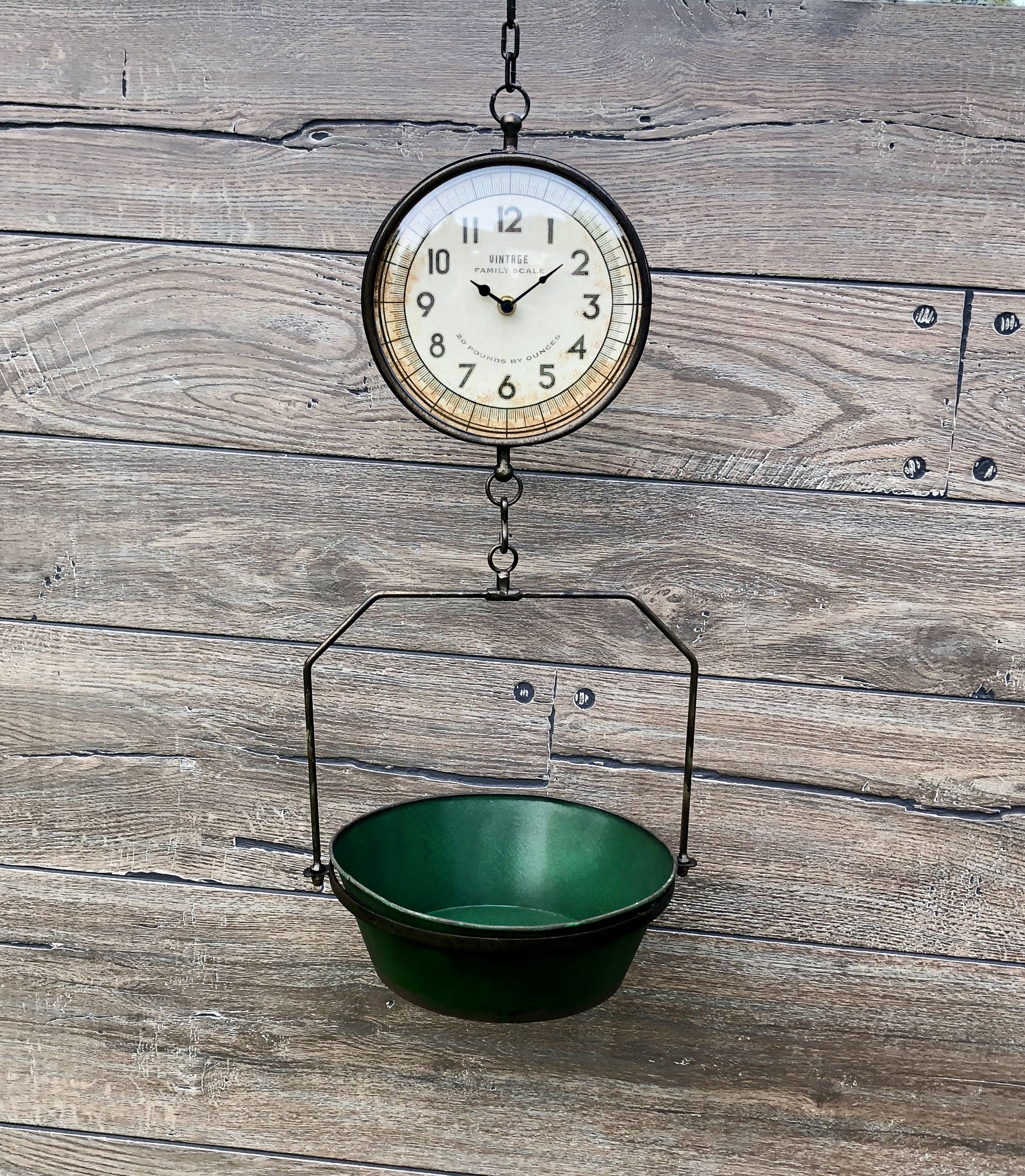 Best Green Rustic Hanging Clock Scale Rooster Kitchen Decor 400 x 300