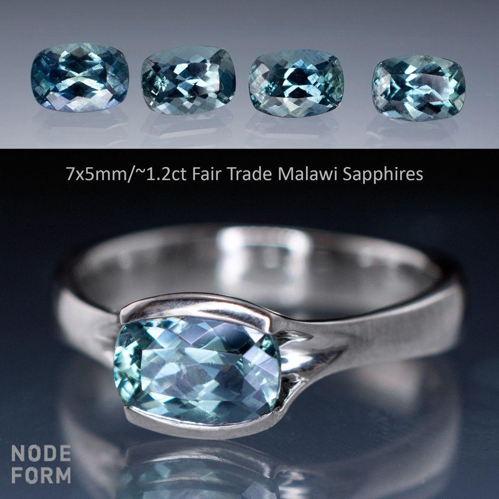 Cushion Fair Trade Teal Sapphire Fold Solitaire Engagement