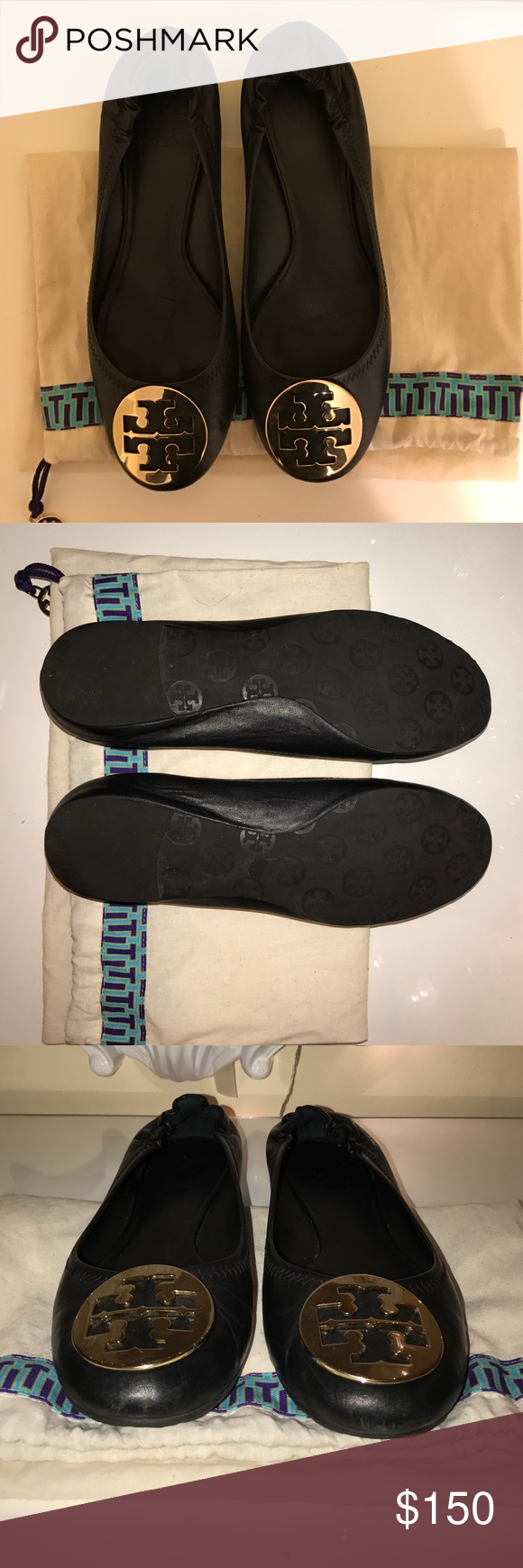 Tory burch reva flats! Black and gold Tory burch reva leather flat. Authentic come with dust bag. Worn a few times in great condition. I do bundle just ask! Tory Burch Shoes Flats & Loafers