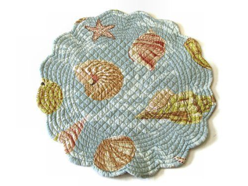 Seashell Round Placemat by C + F ENTERPRISES. $9.00. Bautifull Ocean Theme Colors with Seashells and other sea life. Each place mat is little different.. Prewashed by the Manufacturer for ultimate quality.. 100% Cotton. St. Martin Blue Quilted Reversible Placemat. Machine Wash Cold, Gentle Cycle. Get ready for summer or a beach themed party with our Seashell Round Placemat. Quilted cotton has never looked so good. Featuring a light blue base with pops of coral, green, white and ...