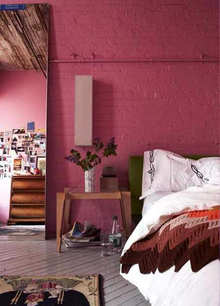 Nice Dark Dusty Rose Walls :: Very Pretty Bedroom