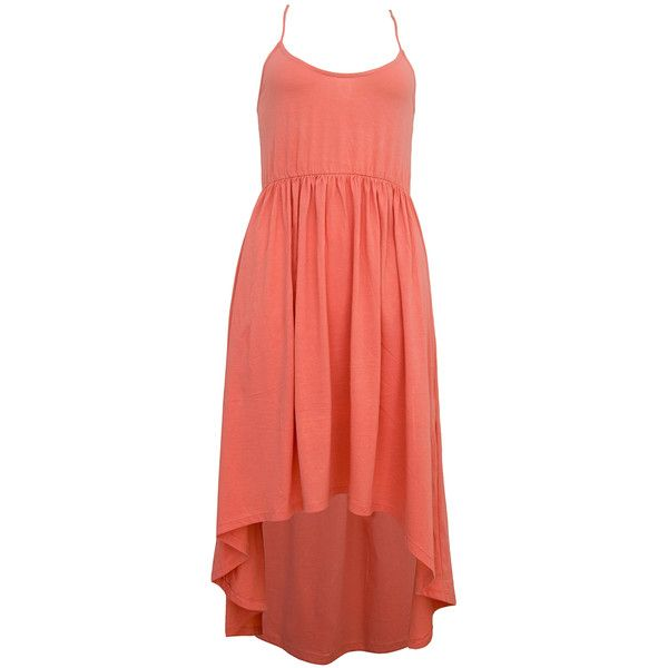 Motel Bryony Dip Hem Strappy Dress in Coral  ❤ liked on Polyvore
