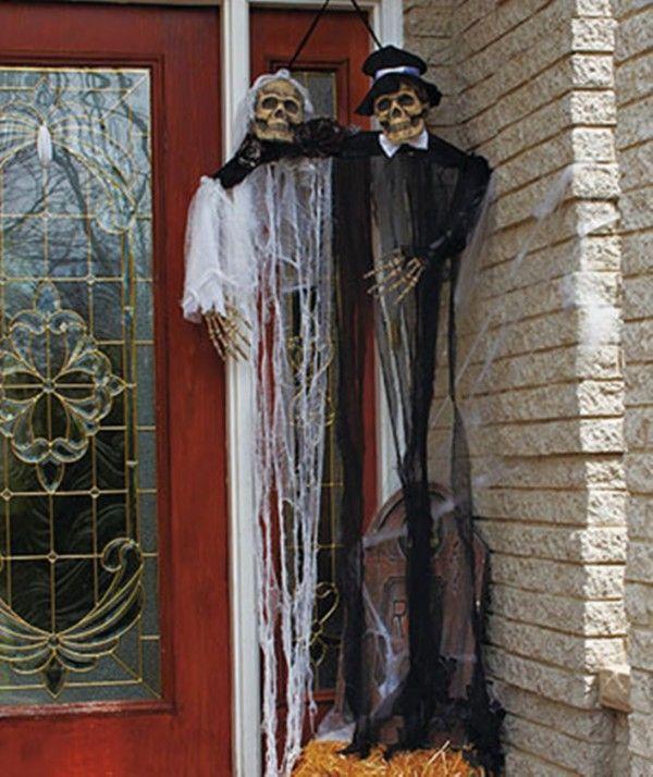 new hanging bride groom skeletons scary outdoor halloween decorations 2014 halloween - Skeleton Halloween Decorations