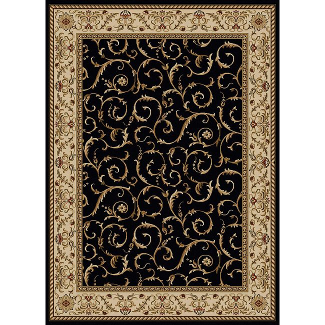 Admire Home Living Amalfi Scroll Black Oriental Area Rug 5 5 X 7