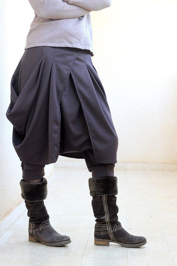 6f31f6b51ec5f 2-in-1 Pants with skirt. Drop crotch brown harem trousers for women. Winter  Boho Harem Pants Skirt. COLOR CHOICE. Sizes S/M/L/Xl