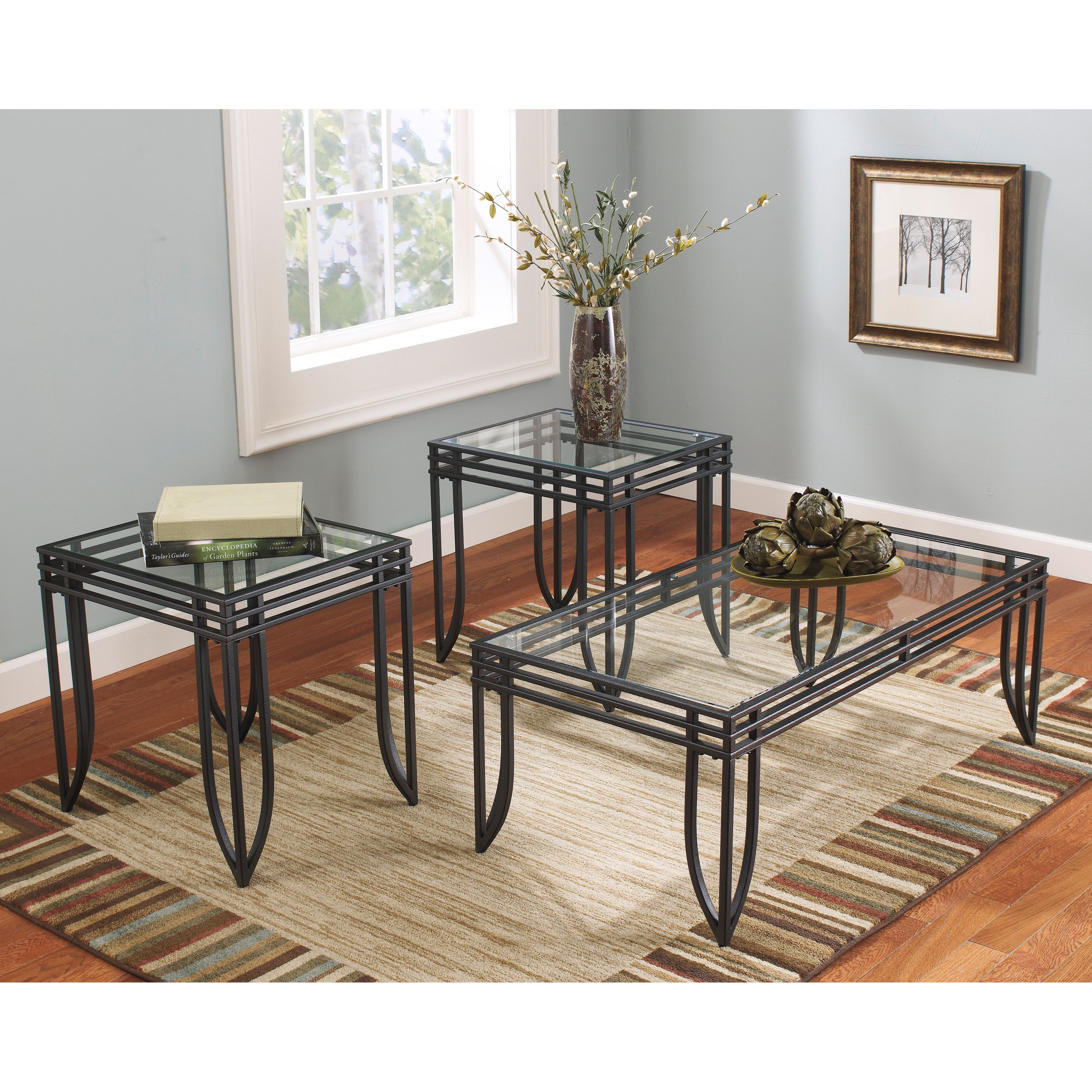 This Stylish Exster 3 Piece Occasional Table Set Features A Metal Construction Finished In Black Brown Living Room Table Sets End Table Sets Accent Table Sets #three #piece #living #room #table #set