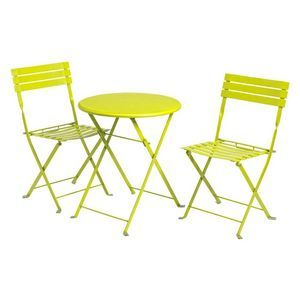 Del Terra Steel Folding Bistro Set Lime Outdoor Bistro Set Bistro Set Outdoor Furniture