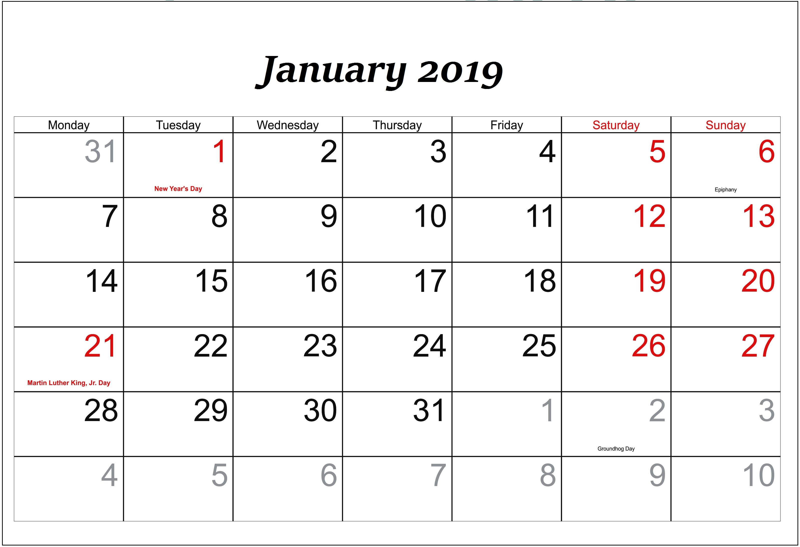 january 2019 printable calendar with holidays templateprintable