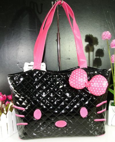 f204e1451 NEW Hello Kitty Black Pink Patent Shiny Faux Leather Face Bow Purse Bag  Quilted · TheNoirStar · Online Store Powered by Storenvy