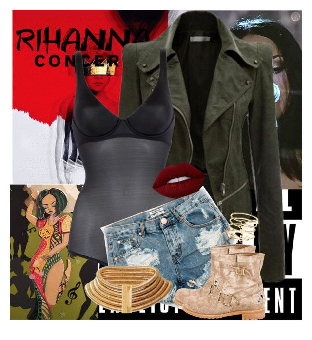 """""""Rihanna Concert"""" by giascovet ❤ liked on Polyvore featuring Wolford, One Teaspoon, Jimmy Choo, Lime Crime, Accessorize and Balmain"""