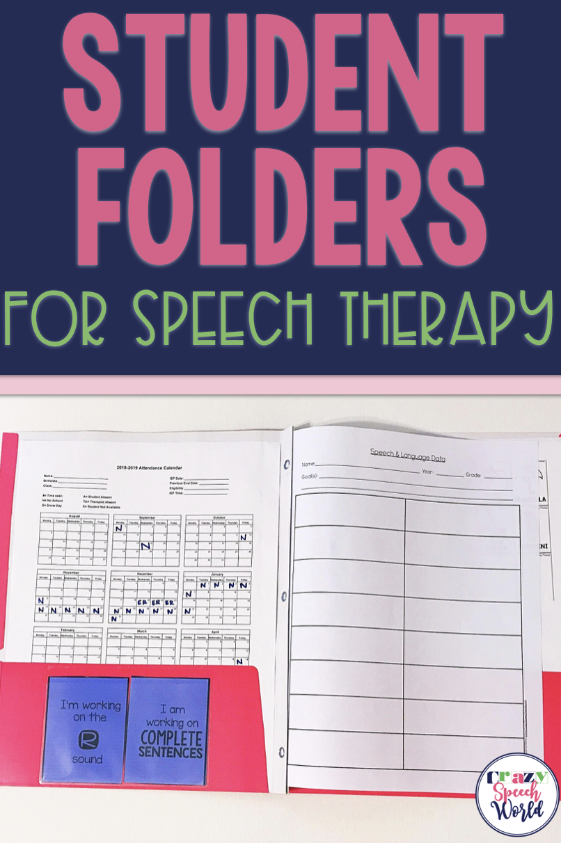 Student Folders for Speech Therapy | Speech and Special Ed | Pinterest