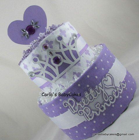 Girl diaper cake  Purple diaper cake  Baby by MsCarlasBabyCakes