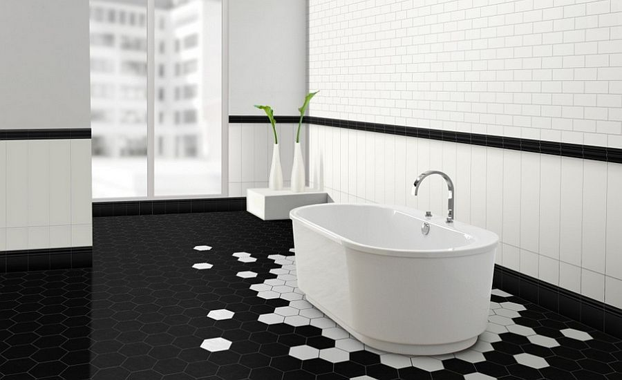 Stunning black and white bathroom with hexagonal tiles - Decoist ...