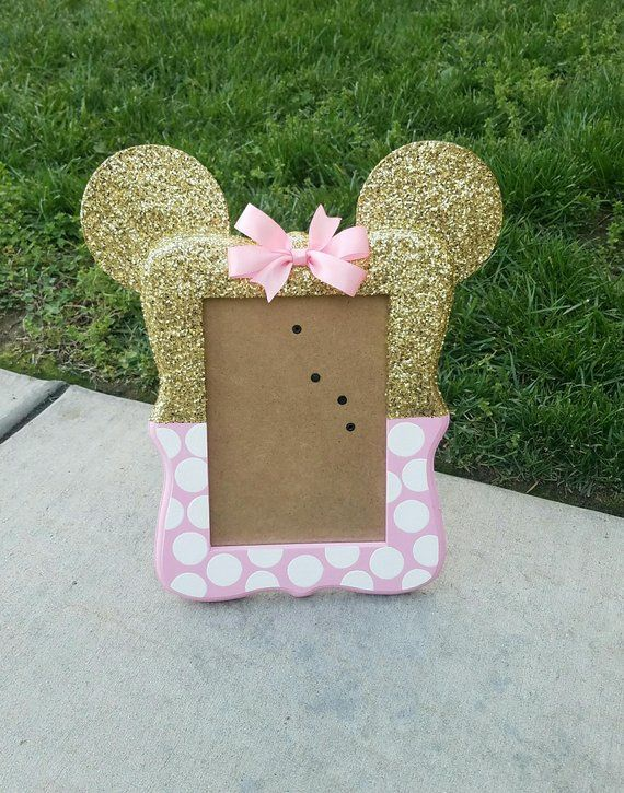 Minnie Mouse inspired 5x7 picture frame, Minnie inspired birthday decoration, picture frame, cake table decoration, girl birthday, glitter