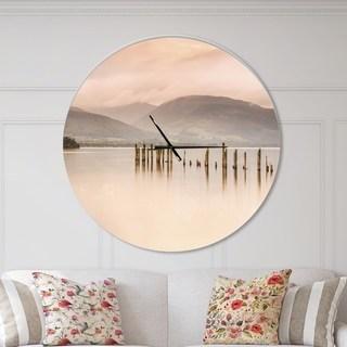 Designart Loch Lomond Jetty And Mountains Oversized Coastal Wall Clock 38 In Wide X 38 In High White Trending Decor Metal Wall Clock Mattress Furniture
