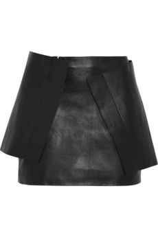 J.W.Anderson Wrap-effect leather mini skirt $450 (Originally $1125)| THE OUTNET