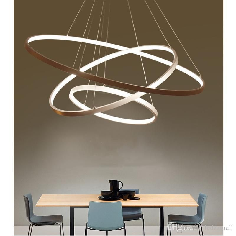 Modern Circular Ring Pendant Lights 3 2 1 Circle Rings Acrylic Aluminum Body Led Lighting Ceiling Lamp Fixtures F Eclairage Du Salon Plafonnier Lampe Suspendue