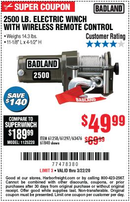 Badland 2500 Lb Atv Utility Winch For 49 99