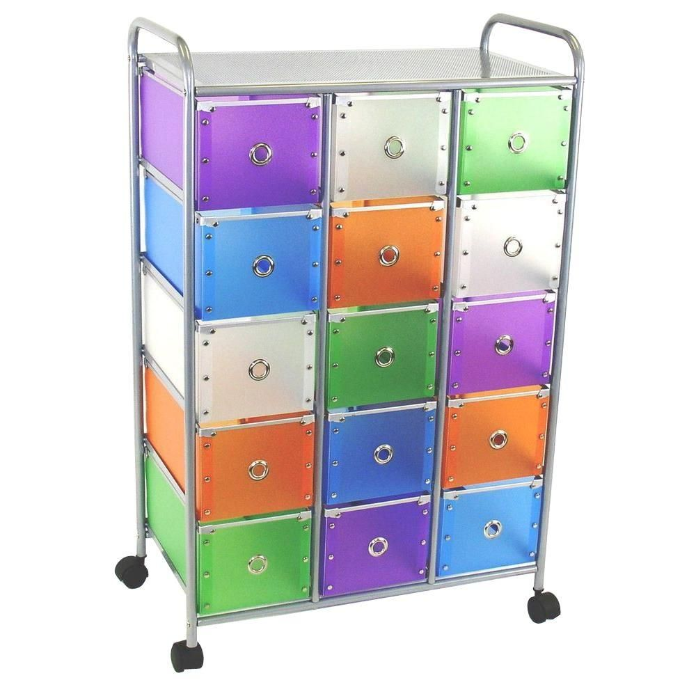 Exceptionnel Metal Storage Multi Color Drawers With Silver Metal Frame Storage Furniture