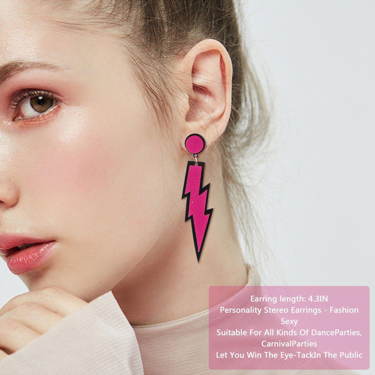 NEON PINK HOOP EARRINGS 80S FASHION COSTUME JEWELLERY FANCY DRESS ACCESSORIES