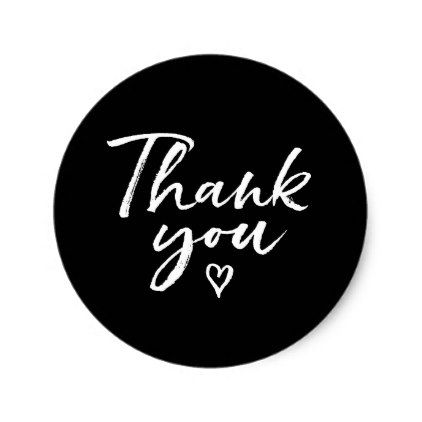 Thank you brush script hand lettered stickers Wedding stickers