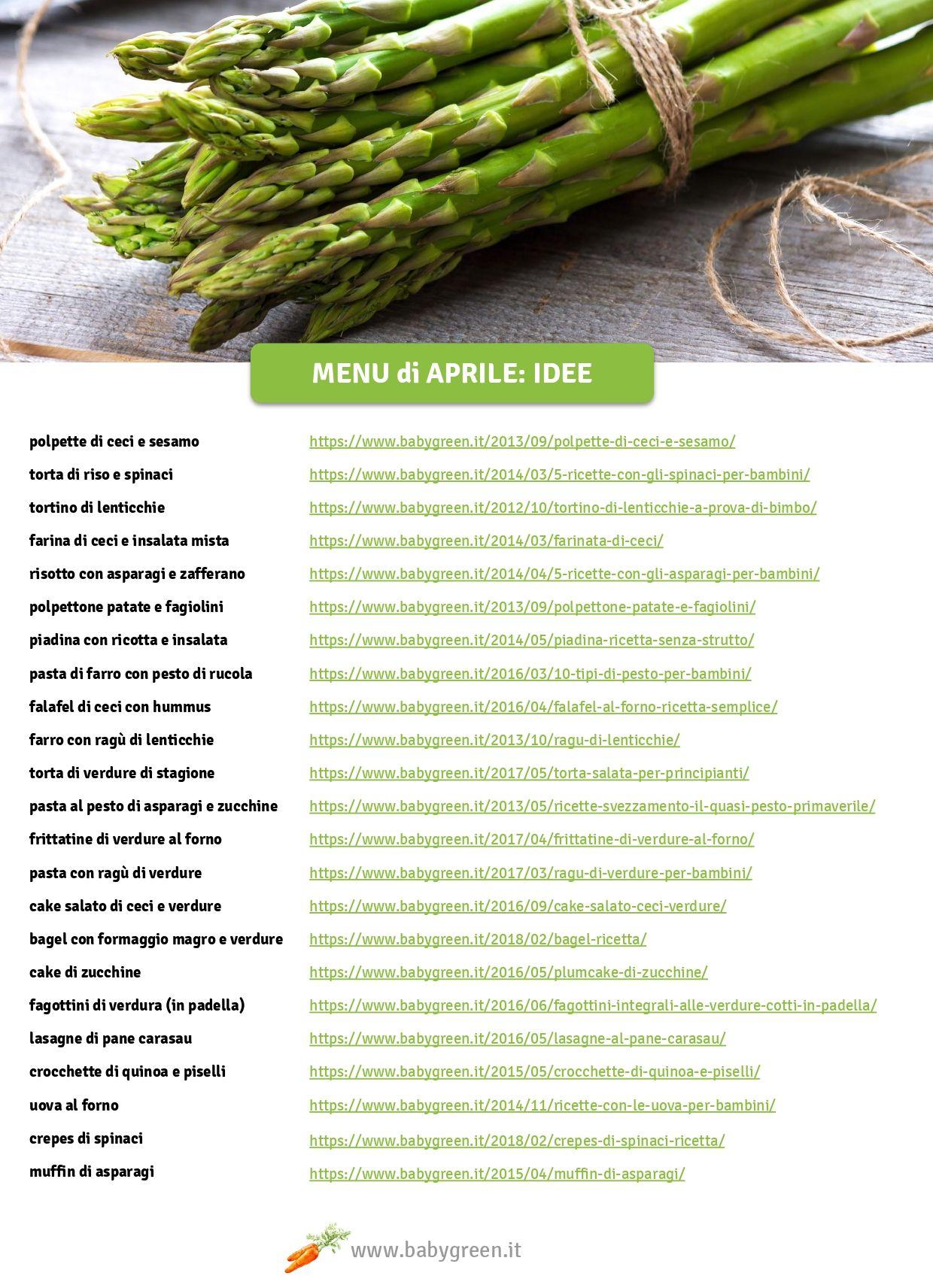 Menu Settimanale Sano Ed Economico menu di aprile   ricette, cibo vegetariano, idee alimentari