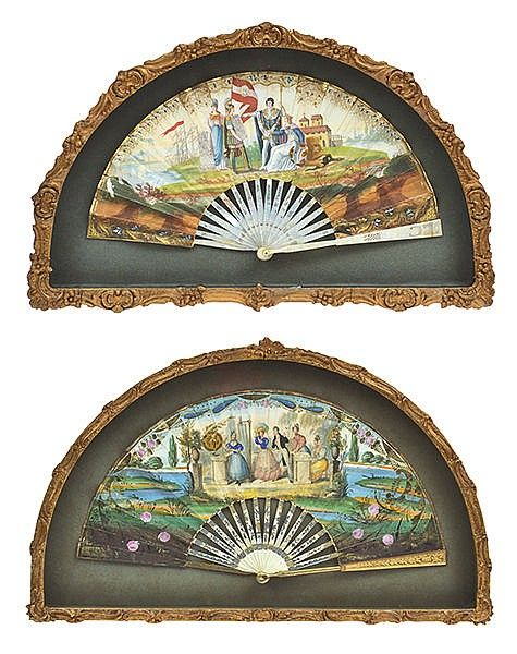 A PAIR OF 19TH CENTURY HAND PAINTED AND GILT METAL MOUNTED MOTHER OF PEARL FANS <br> each housed within a gilt wood box frame, painted with courtly scenes, each frame 31cm high x 51cm wide