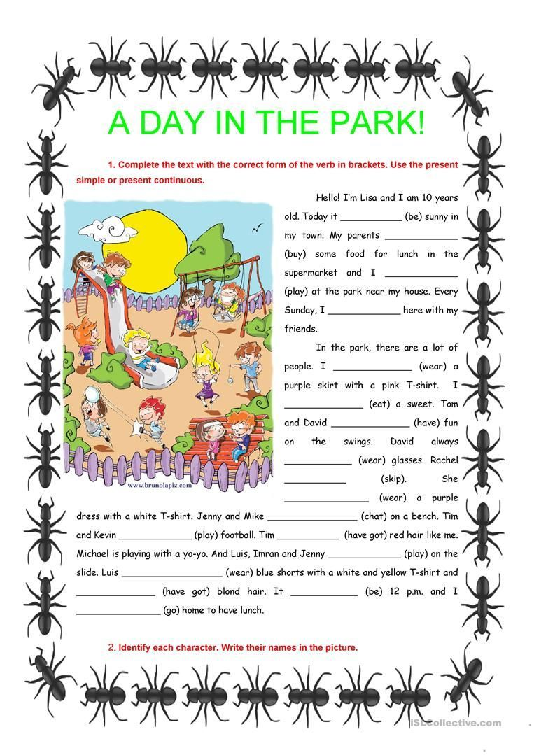 worksheet Present Simple Worksheets Esl a day in the park present simple continuous worksheet free esl printable worksheets